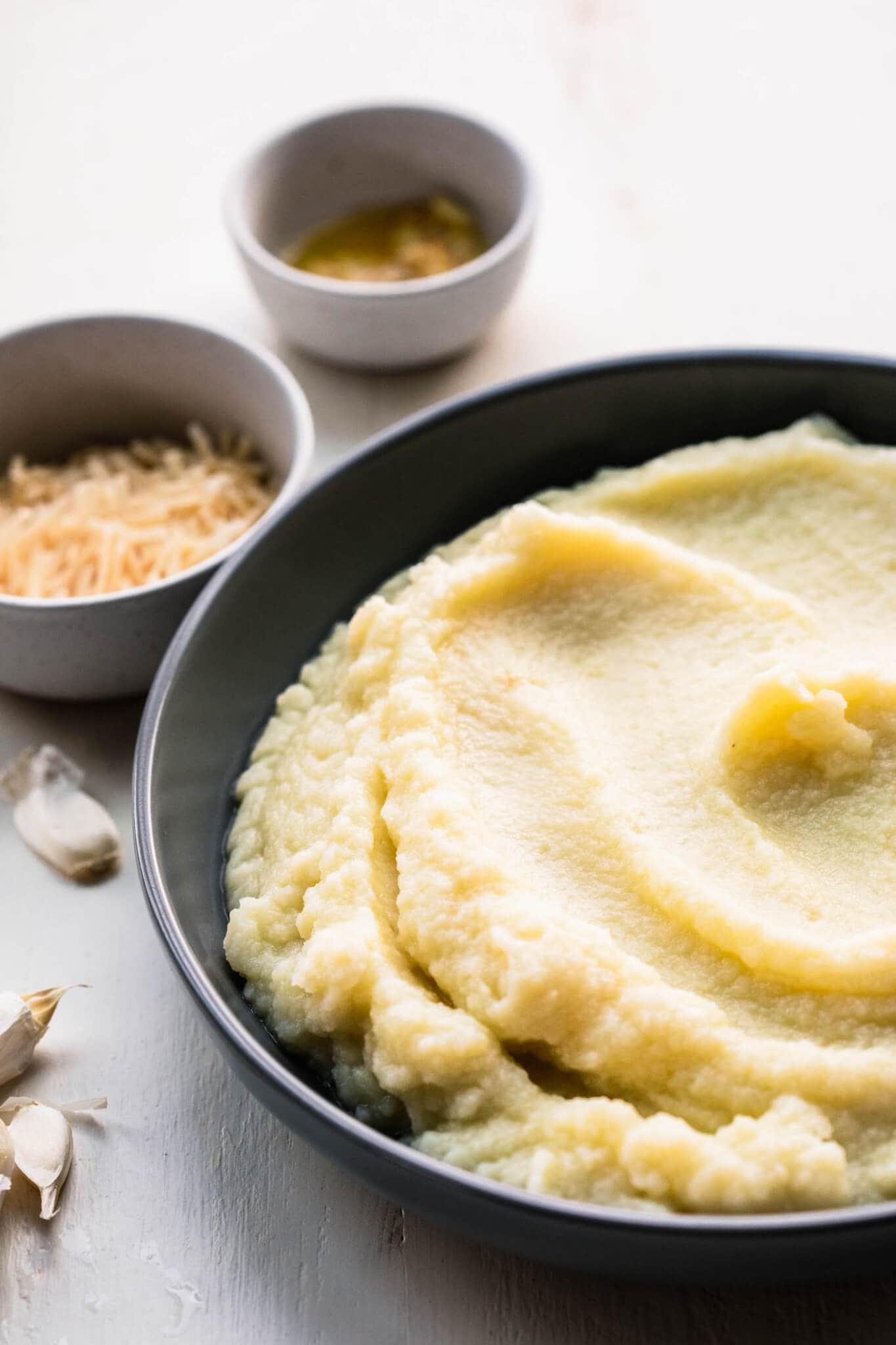 Ingredients for garlic mashed cauliflower