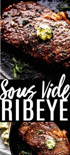 Learn how to make the PERFECT Sous Vide Ribeye Steak. With a timing chart for the perfect rare, medium, or well done steak, plus a delicious compound butter to top it with.
