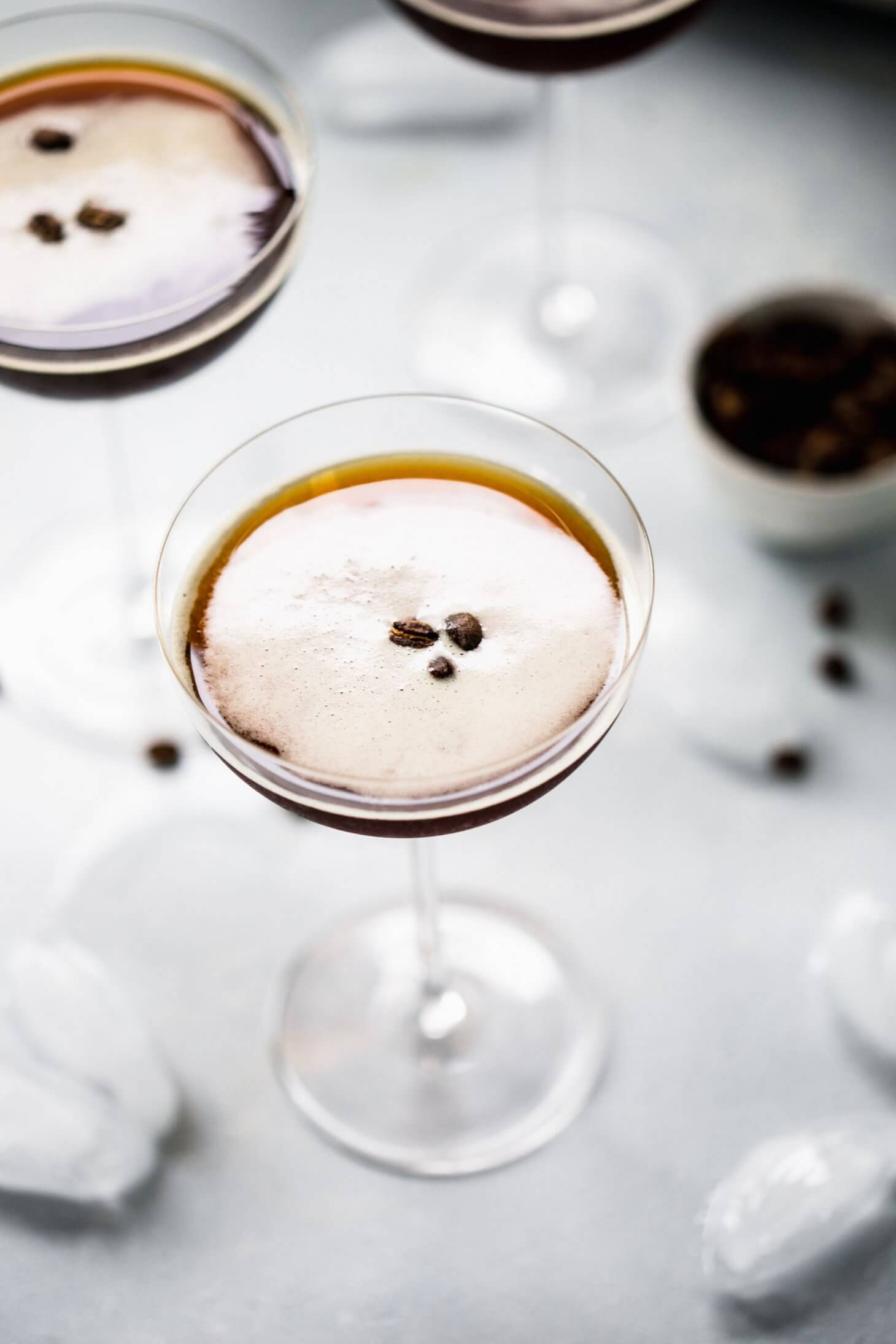 Overhead shot of espresso martinis ready to serve.