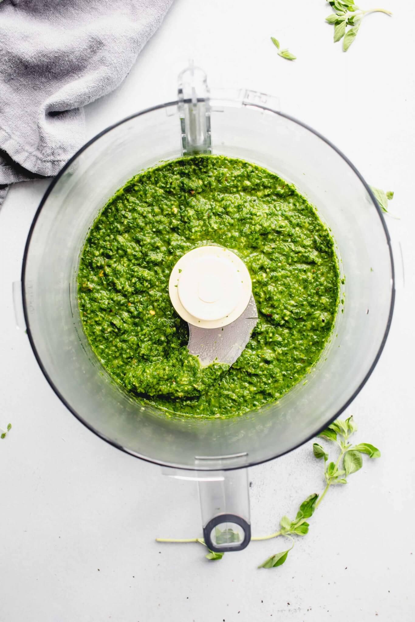 Chimichurri sauce in food processor