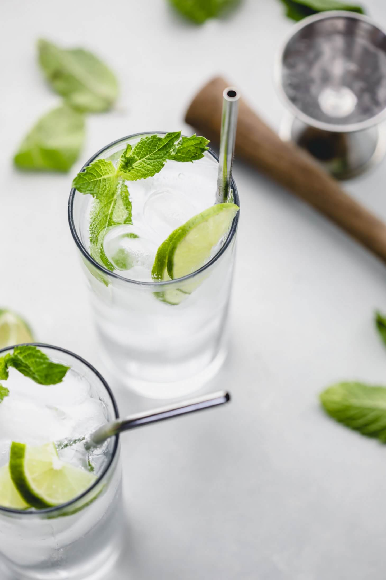 Overhead shot of mojito in glass.