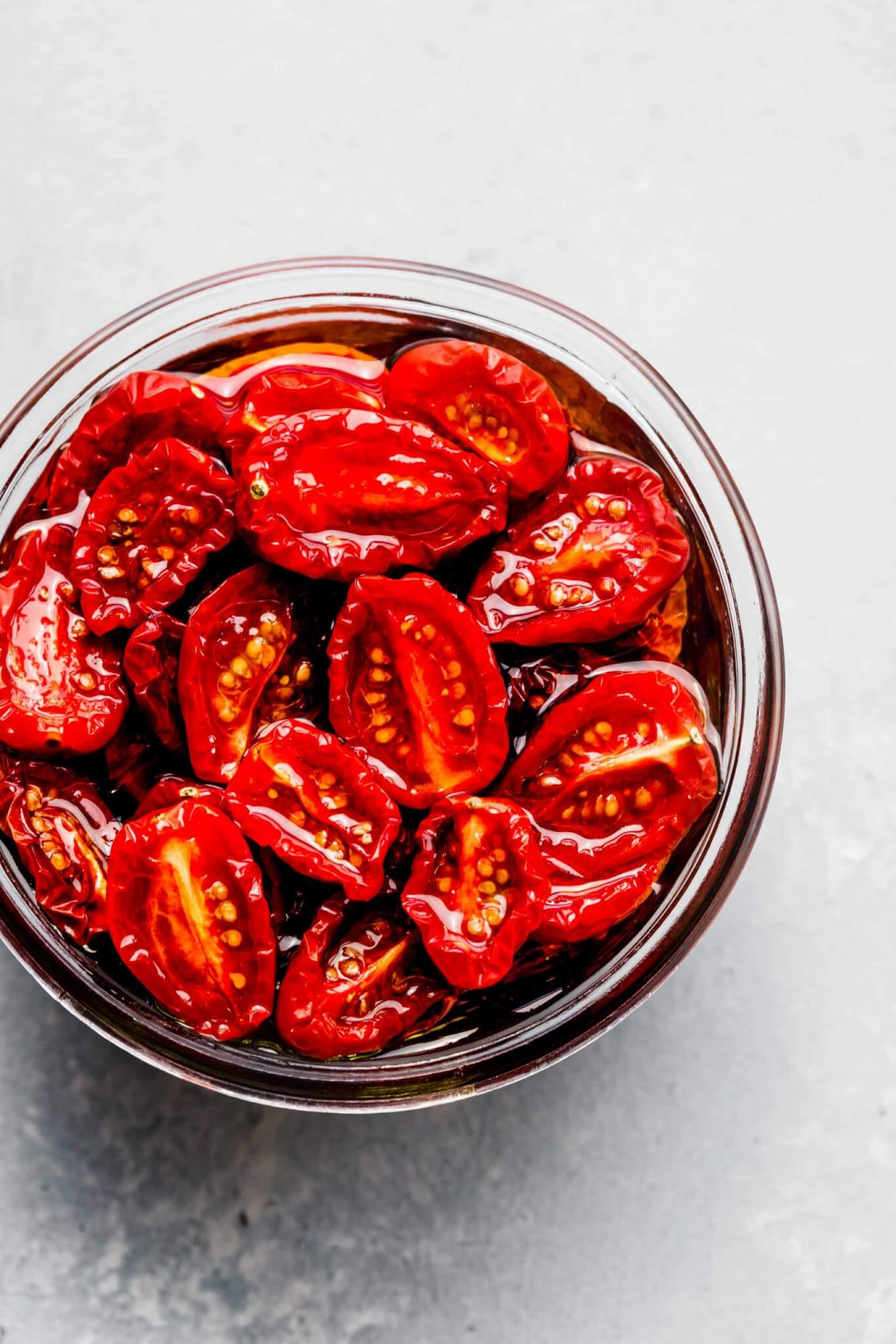Jar of sun dried tomatoes packed in oil