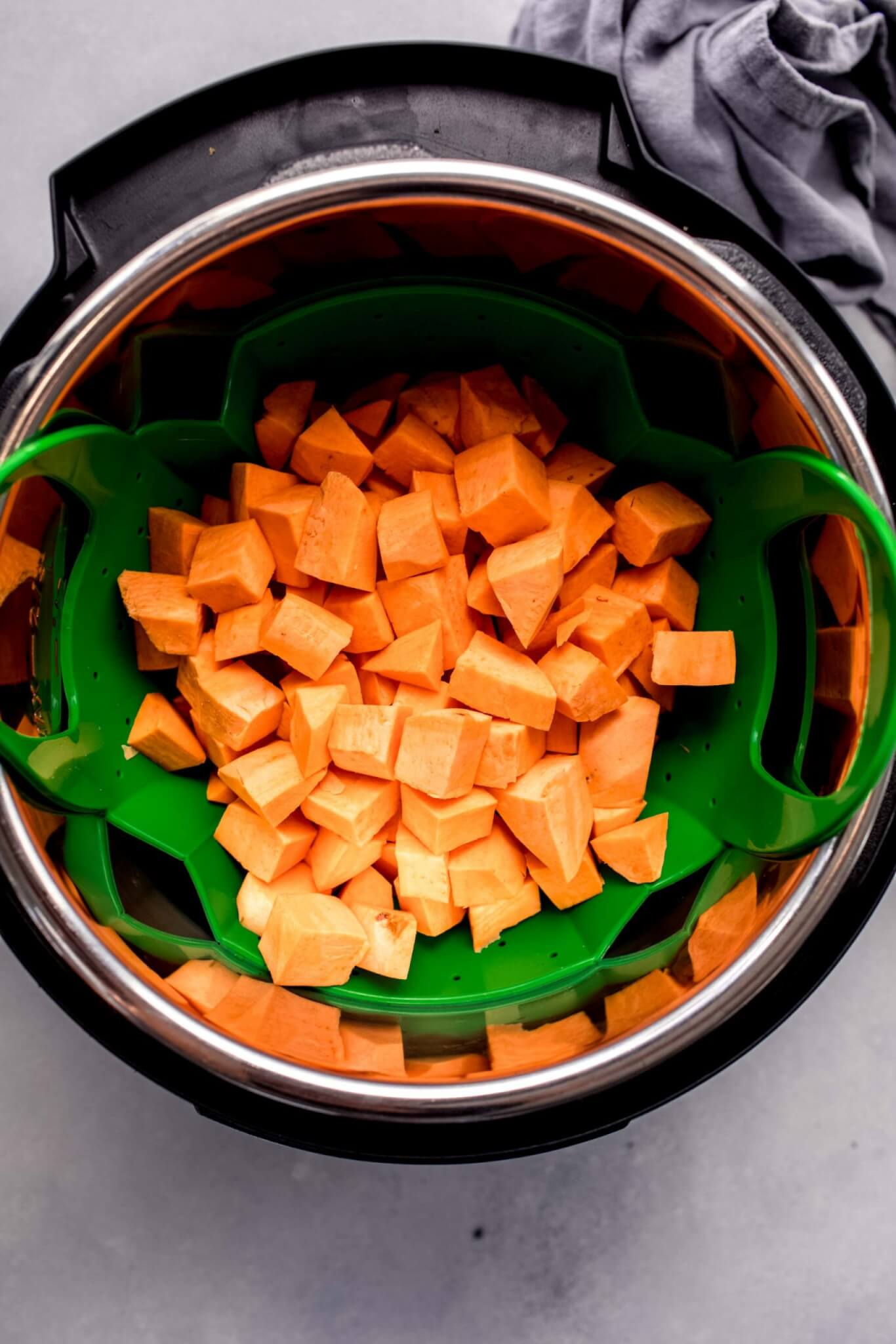 Cubes of sweet potato in instant pot.