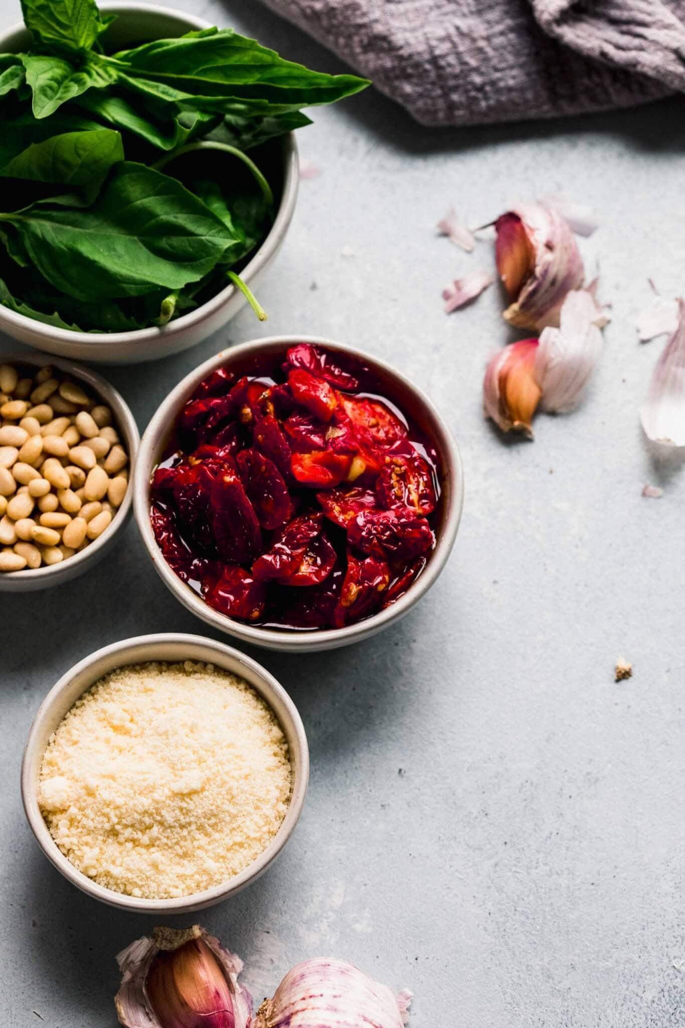 Ingredients for pesto on countertop