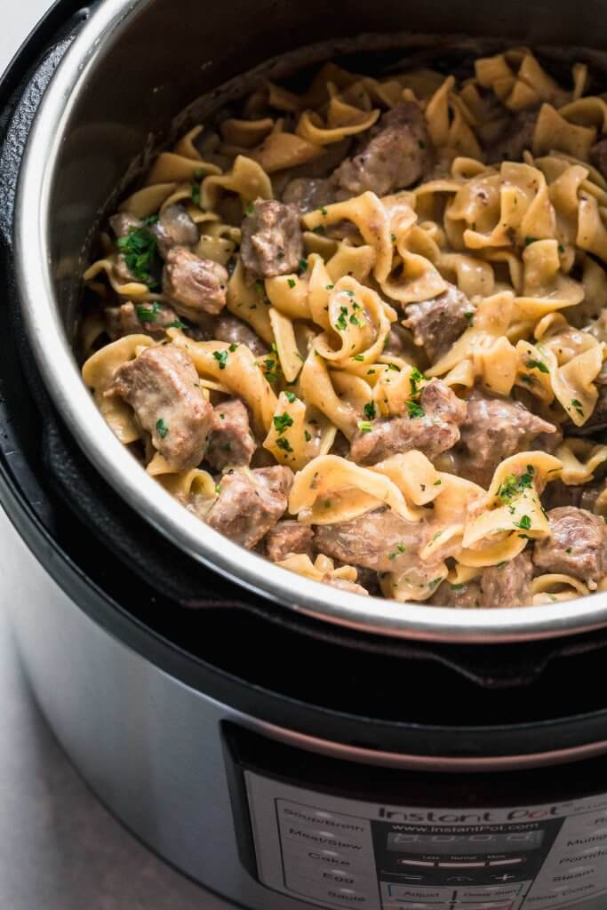 Beef stroganoff in the instant pot.
