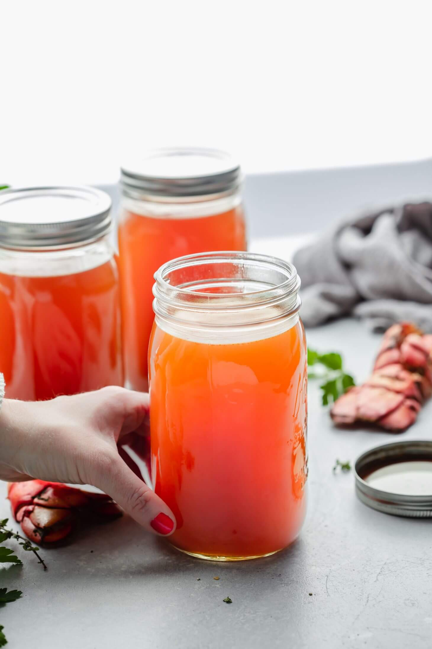 Seafood stock in jars
