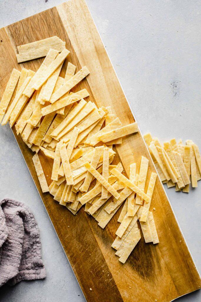 Tortilla cut into strips.