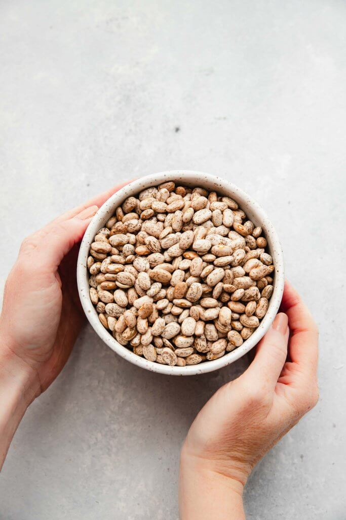 Hands holding bowl of dried pinto beans.