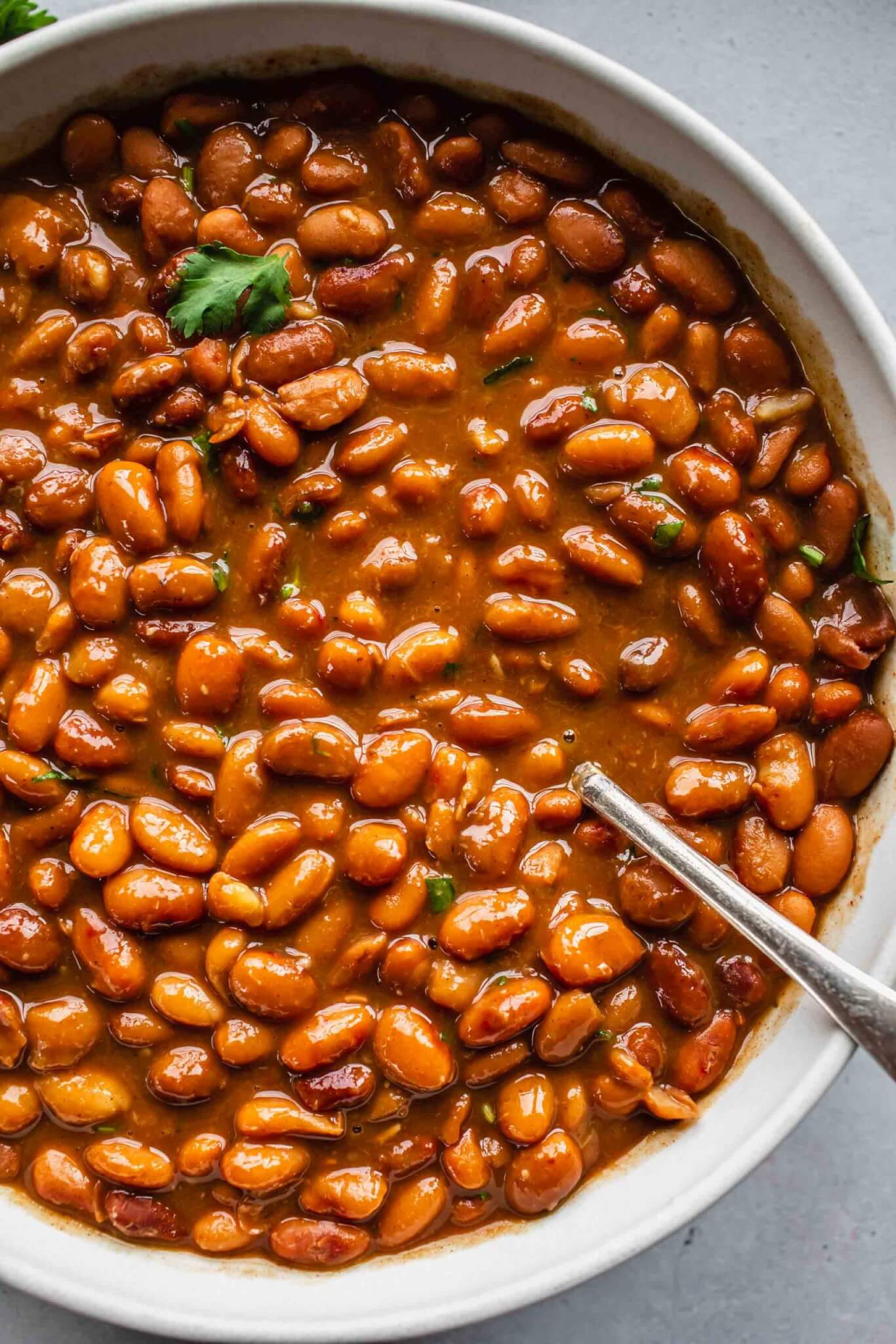 Overhead close up of pinto beans in white bowl with spoon.